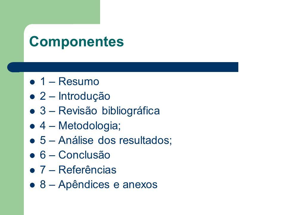 Componentes 1 – Resumo 2 – Introdução 3 – Revisão bibliográfica 4 – Metodologia; 5 – Análise dos resultados; 6 – Conclusão 7 – Referências 8 – Apêndic