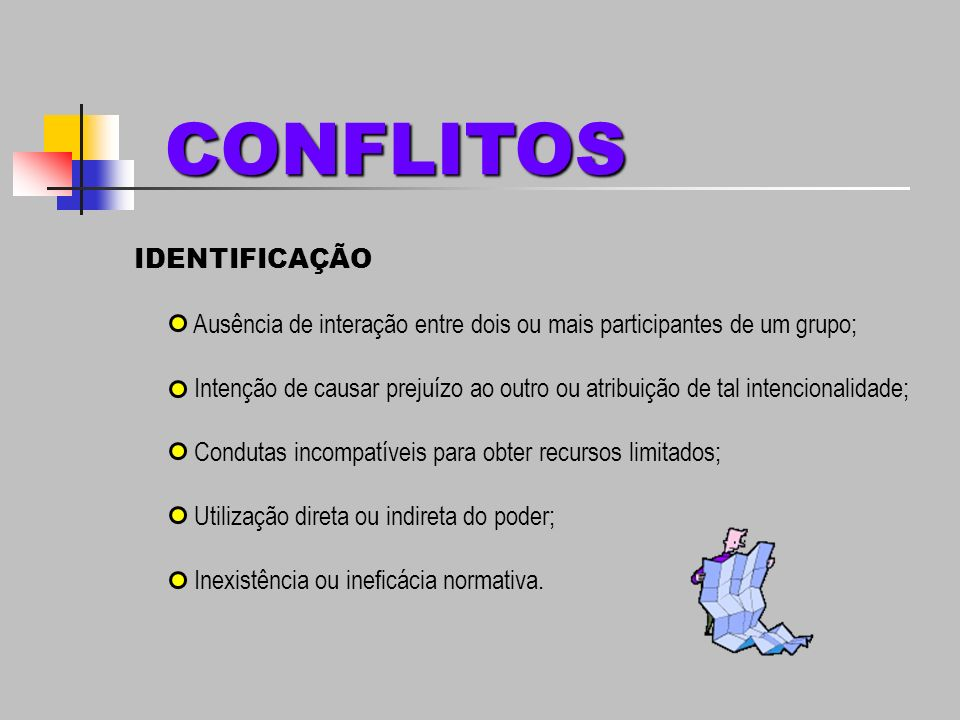 Conflitos de Objetivos; Conflitos de Comportamento; Conflitos Cognitivos ou Racionais; Conflitos Afetivos ou Emocionais.