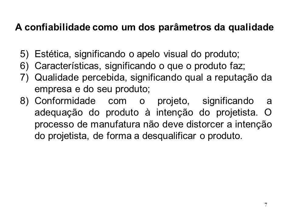7 A confiabilidade como um dos parâmetros da qualidade 5)Estética, significando o apelo visual do produto; 6)Características, significando o que o pro