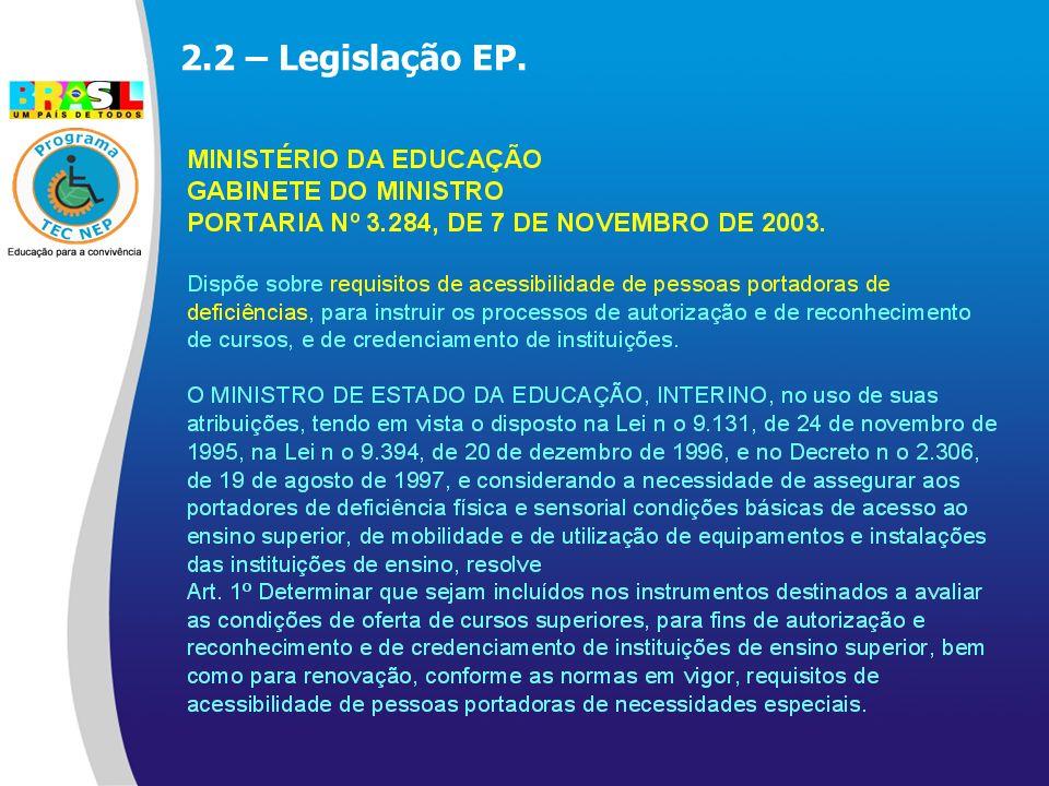 2.2 – Legislação EP.
