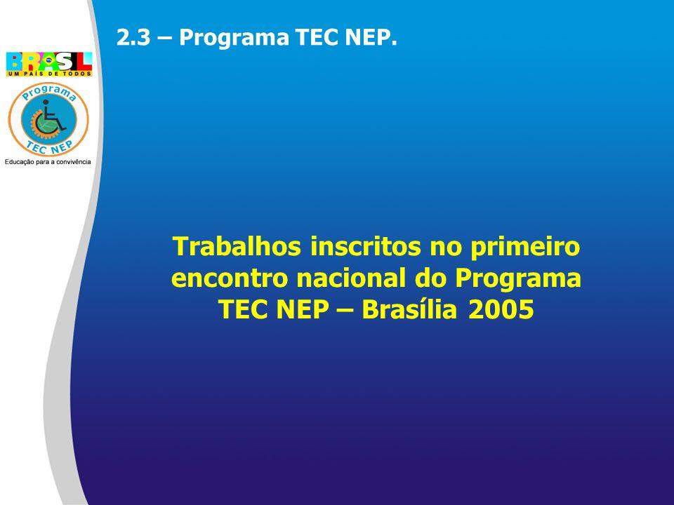 Trabalhos inscritos no primeiro encontro nacional do Programa TEC NEP – Brasília 2005