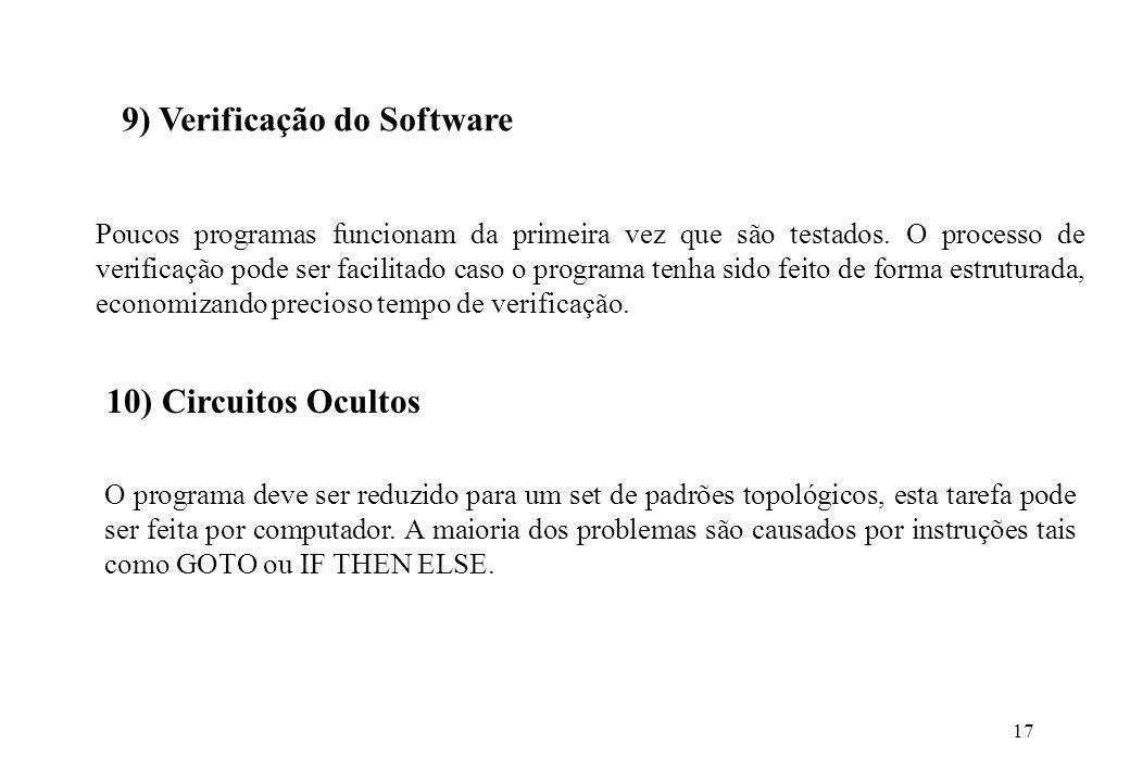 17 9) Verificação do Software Poucos programas funcionam da primeira vez que são testados. O processo de verificação pode ser facilitado caso o progra