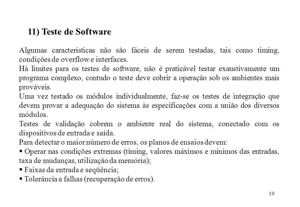 19 11) Teste de Software Algumas características não são fáceis de serem testadas, tais como timing, condições de overflow e interfaces. Há limites pa