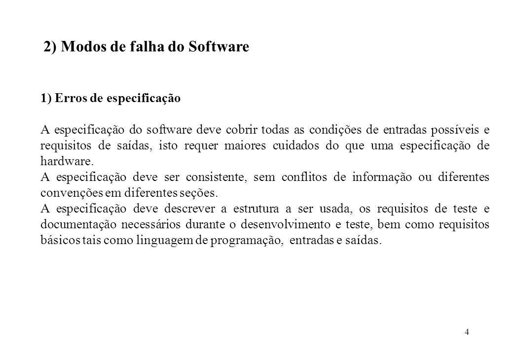 4 2) Modos de falha do Software 1) Erros de especificação A especificação do software deve cobrir todas as condições de entradas possíveis e requisito