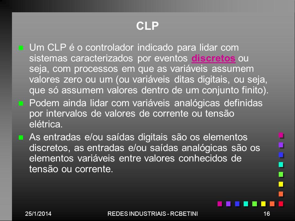 25/1/201416REDES INDUSTRIAIS - RCBETINI CLP n n Um CLP é o controlador indicado para lidar com sistemas caracterizados por eventos discretos ou seja,
