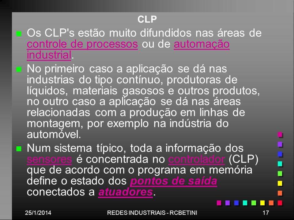 25/1/201417REDES INDUSTRIAIS - RCBETINI CLP n n Os CLP's estão muito difundidos nas áreas de controle de processos ou de automação industrial. control