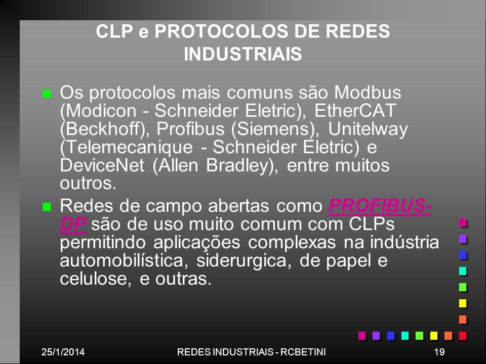 25/1/201419REDES INDUSTRIAIS - RCBETINI CLP e PROTOCOLOS DE REDES INDUSTRIAIS n n Os protocolos mais comuns são Modbus (Modicon - Schneider Eletric),