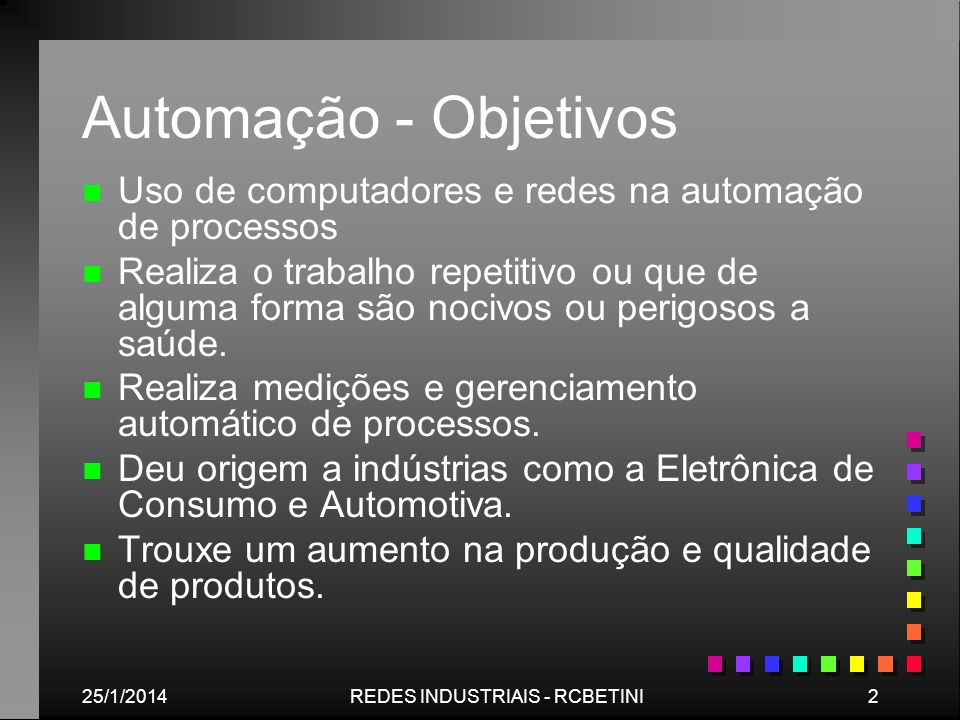 25/1/20142REDES INDUSTRIAIS - RCBETINI Automação - Objetivos n n Uso de computadores e redes na automação de processos n n Realiza o trabalho repetiti