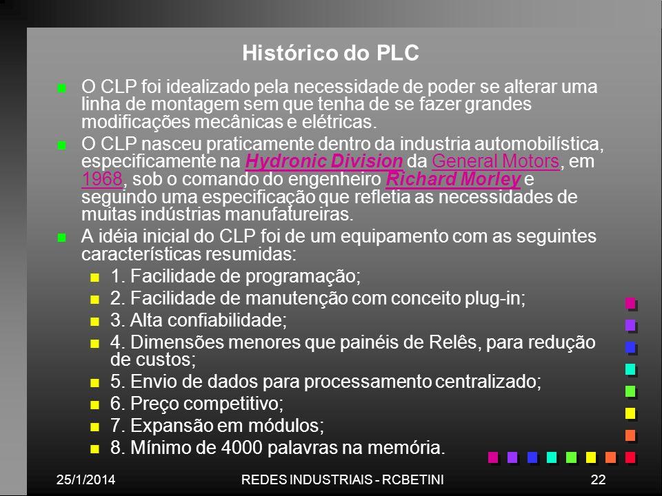 25/1/201422REDES INDUSTRIAIS - RCBETINI Histórico do PLC n n O CLP foi idealizado pela necessidade de poder se alterar uma linha de montagem sem que t