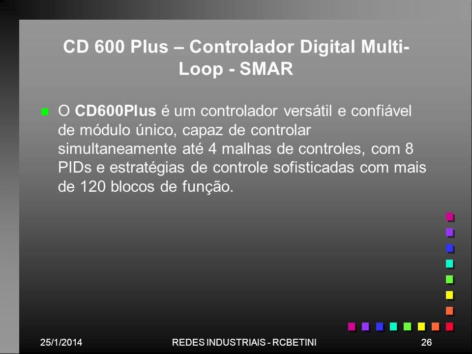 25/1/201426REDES INDUSTRIAIS - RCBETINI CD 600 Plus – Controlador Digital Multi- Loop - SMAR n n O CD600Plus é um controlador versátil e confiável de