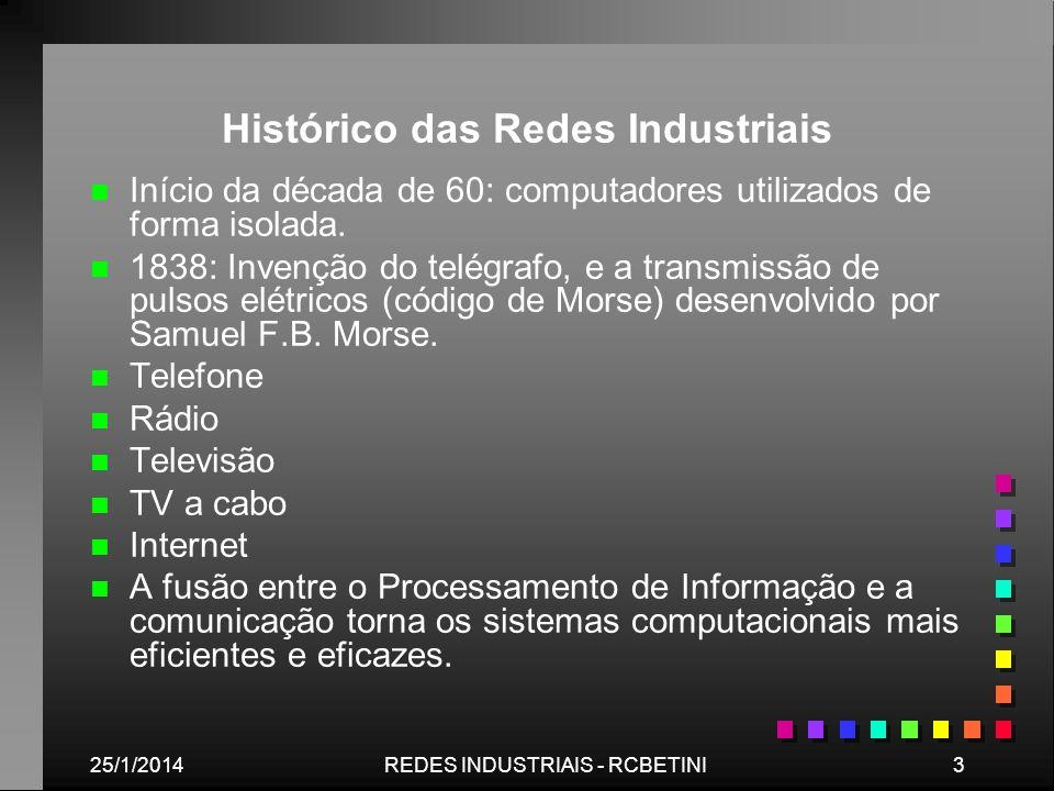 25/1/20143REDES INDUSTRIAIS - RCBETINI Histórico das Redes Industriais n n Início da década de 60: computadores utilizados de forma isolada. n n 1838: