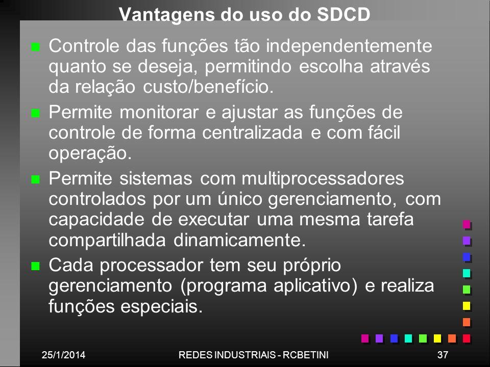 25/1/201437REDES INDUSTRIAIS - RCBETINI Vantagens do uso do SDCD n n Controle das funções tão independentemente quanto se deseja, permitindo escolha a