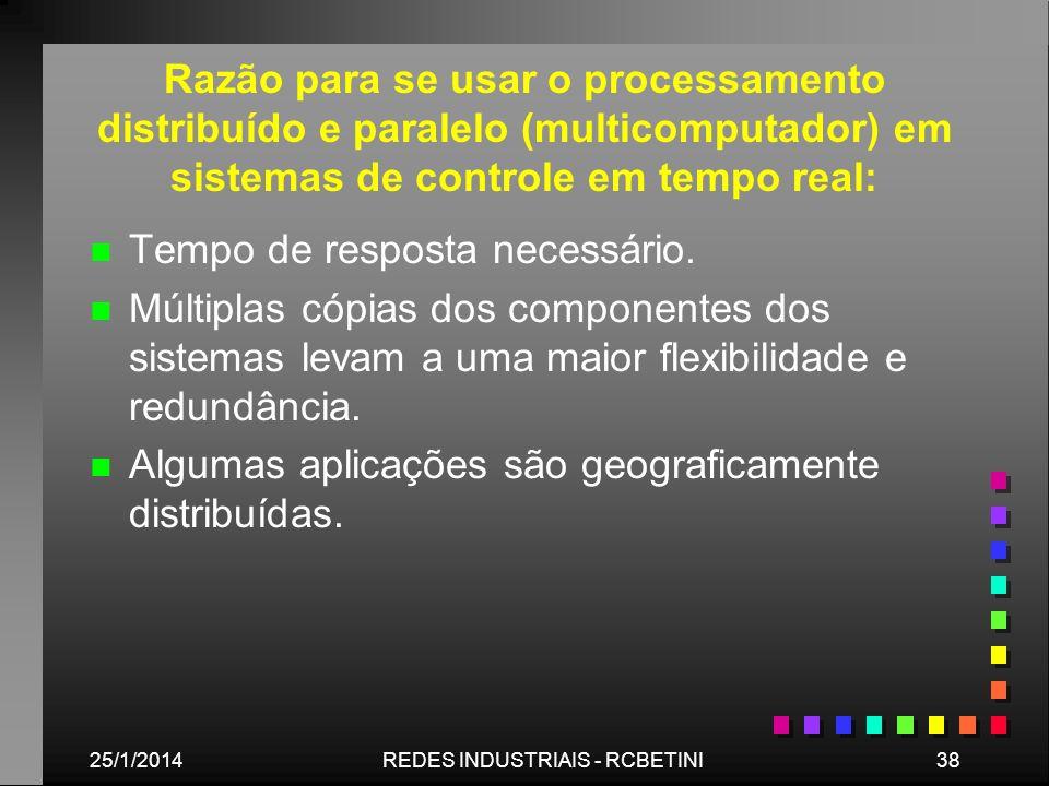 25/1/201438REDES INDUSTRIAIS - RCBETINI Razão para se usar o processamento distribuído e paralelo (multicomputador) em sistemas de controle em tempo r