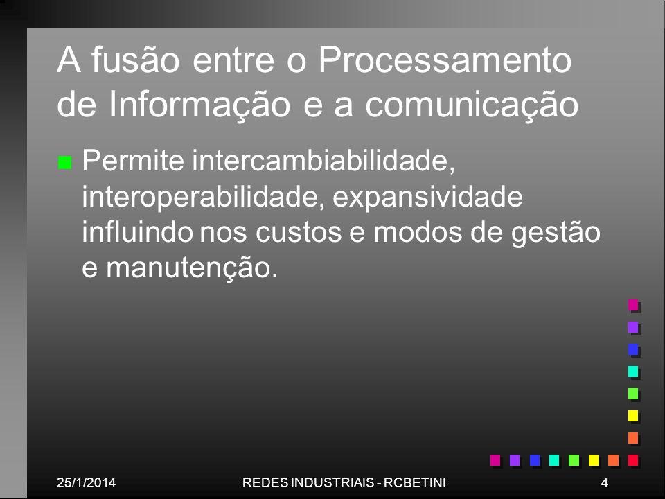 25/1/20144REDES INDUSTRIAIS - RCBETINI A fusão entre o Processamento de Informação e a comunicação n n Permite intercambiabilidade, interoperabilidade