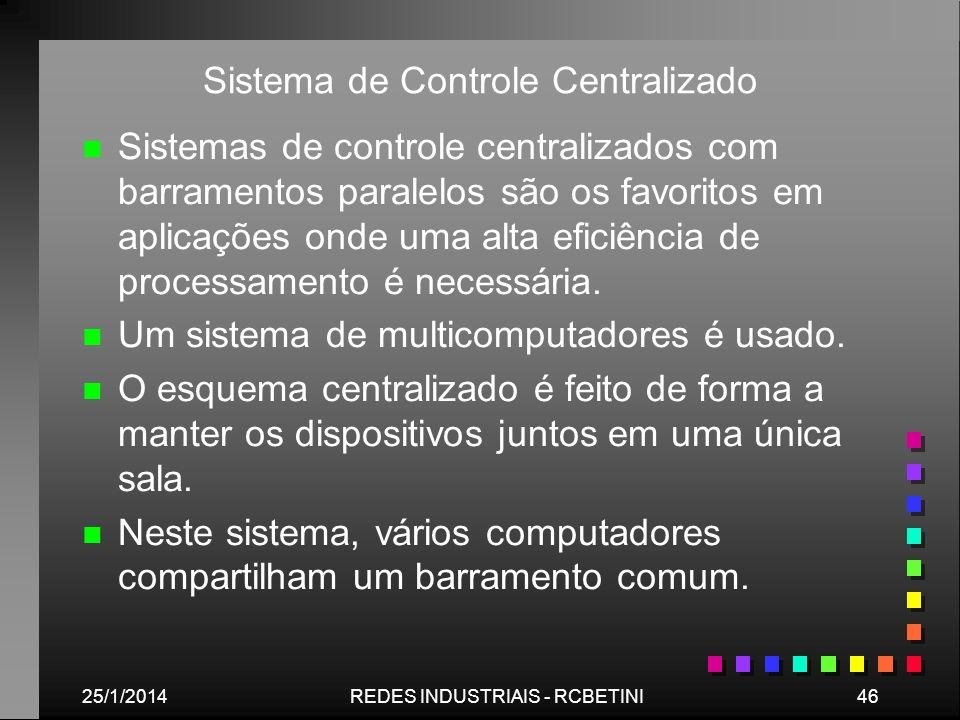 25/1/201446REDES INDUSTRIAIS - RCBETINI Sistema de Controle Centralizado n n Sistemas de controle centralizados com barramentos paralelos são os favor