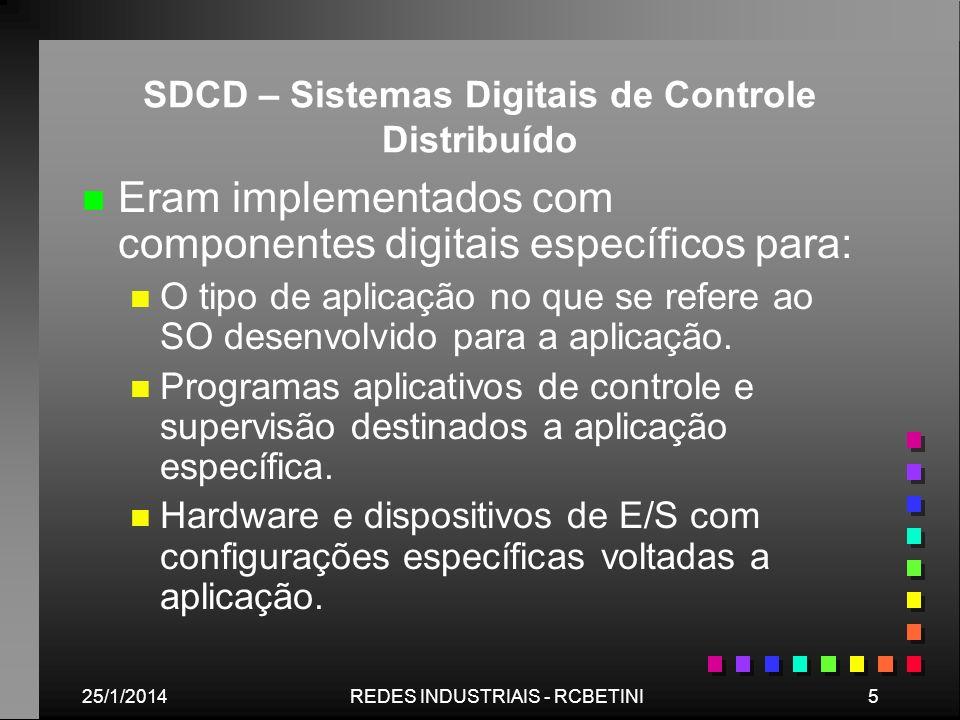 25/1/20145REDES INDUSTRIAIS - RCBETINI SDCD – Sistemas Digitais de Controle Distribuído n n Eram implementados com componentes digitais específicos pa