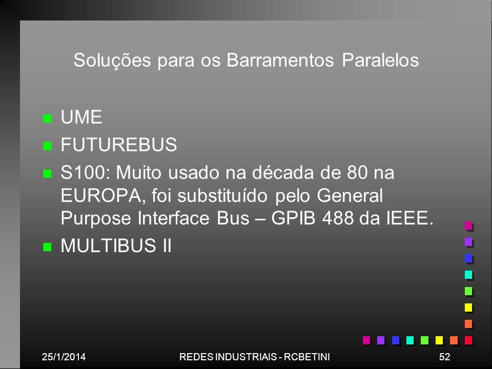 25/1/201452REDES INDUSTRIAIS - RCBETINI Soluções para os Barramentos Paralelos n n UME n n FUTUREBUS n n S100: Muito usado na década de 80 na EUROPA,