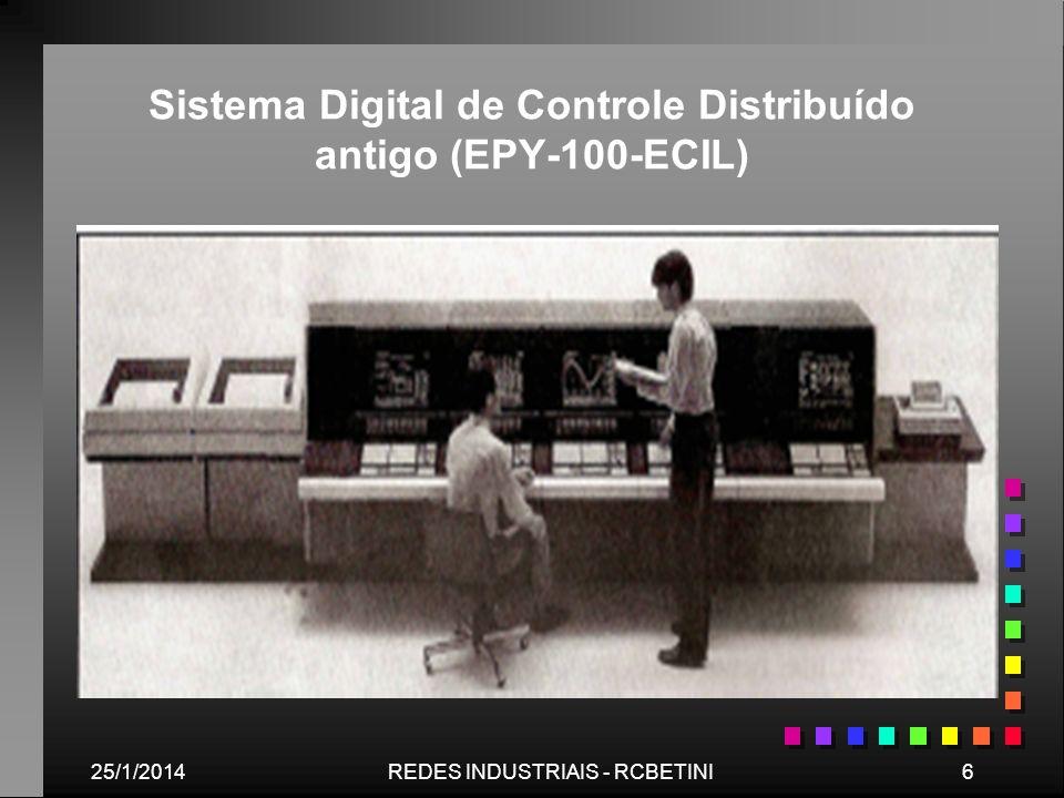 25/1/20147REDES INDUSTRIAIS - RCBETINI Exemplo de SDCD EPY-100 da ECIL: (a) sumário de alarmes; (b) diagrama de produção; (c) visão geral de controladores e (d) gráficos de tendências.