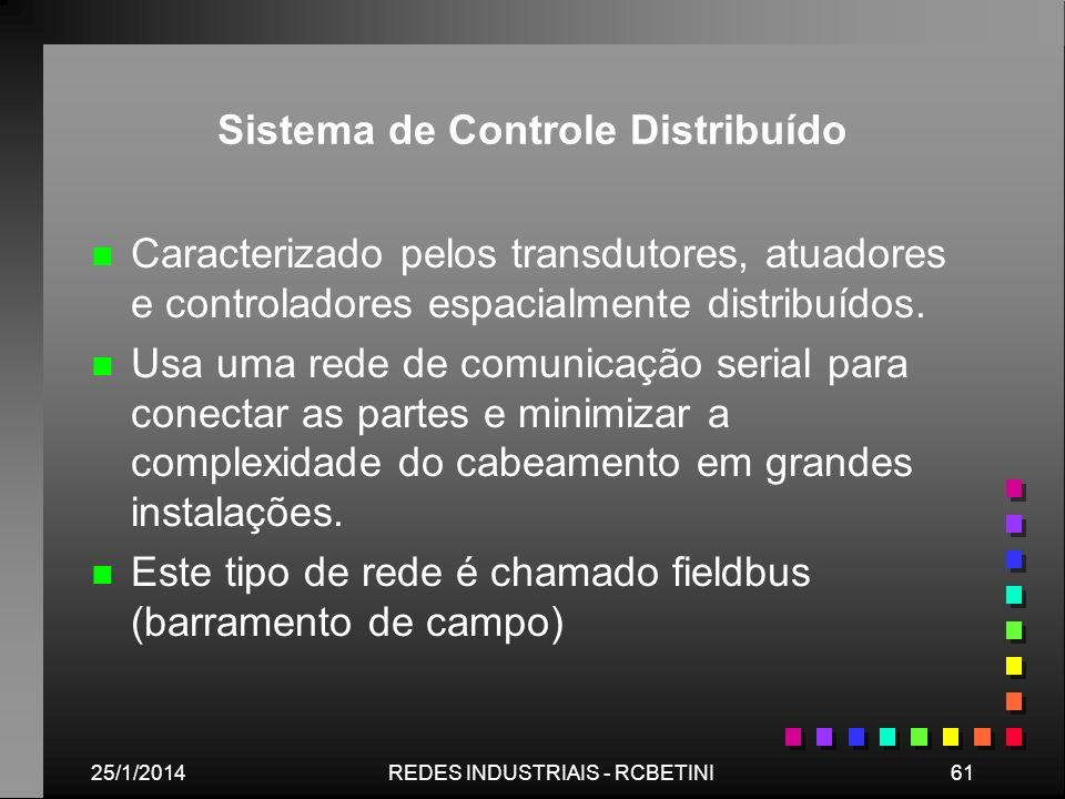 25/1/201461REDES INDUSTRIAIS - RCBETINI Sistema de Controle Distribuído n n Caracterizado pelos transdutores, atuadores e controladores espacialmente