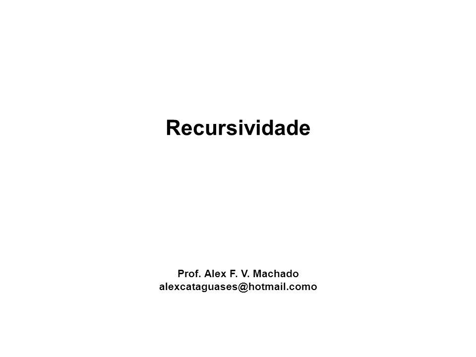 Recursividade Prof. Alex F. V. Machado alexcataguases@hotmail.como