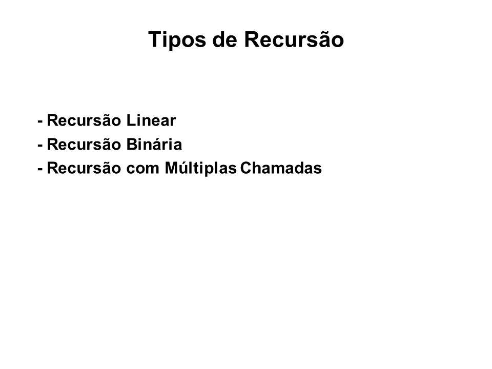 Exemplo 1: Fatorial /* calculo do fatorial – função recursiva */ int fat(int n) { if (n==1){ return 1; }else{ return n*fat(n-1); }