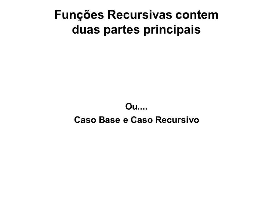 Funções Recursivas contem duas partes principais Ou.... Caso Base e Caso Recursivo