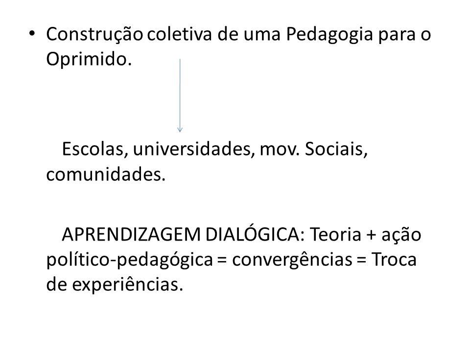 Construção coletiva de uma Pedagogia para o Oprimido. Escolas, universidades, mov. Sociais, comunidades. APRENDIZAGEM DIALÓGICA: Teoria + ação polític
