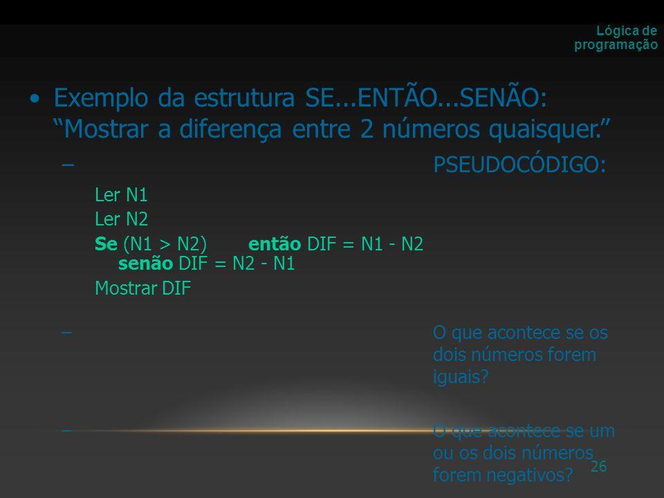 27 –FLUXOGRAMA: Lógica de programação INÍCIO DIF FIM N1 > N2 N1 N2 DIF = N1 - N2DIF = N2 - N1