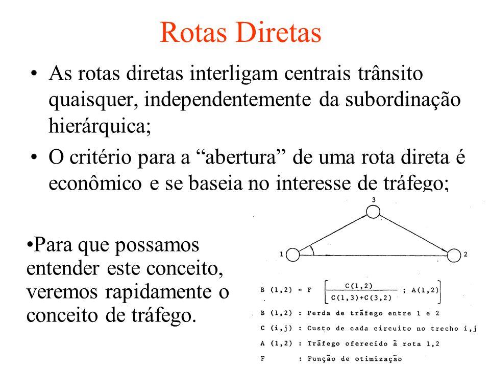 Critérios de Encaminhamento: a) 0 encaminhamento alternativo deve envolver o menor número de centrais trânsito possível; b) As centrais envolvidas no encaminhamento alternativo devem pertencer a cadeia de rotas finais entra central de origem e destino; c) As rotas finais são dimensionadas com baixas perdas e definem o grau de serviço do sistema; d) As rotas diretas sao dimensionadas com perdas elevadas, para maximizar a utilização dos meios; e) Sempre procurar envolver centrais de nível hierárquico mais baixo; f)Procurar entre caminhos equivalentes, aquele que envolve menos trechos comutados; Obs: Quando há um aumento no trafego de uma determinada rota, que possui caminho alternativo, que aceita transbordo, o tráfego de transbordo não aumenta na mesma proporção que o da rota direta, ele é sempre menor.
