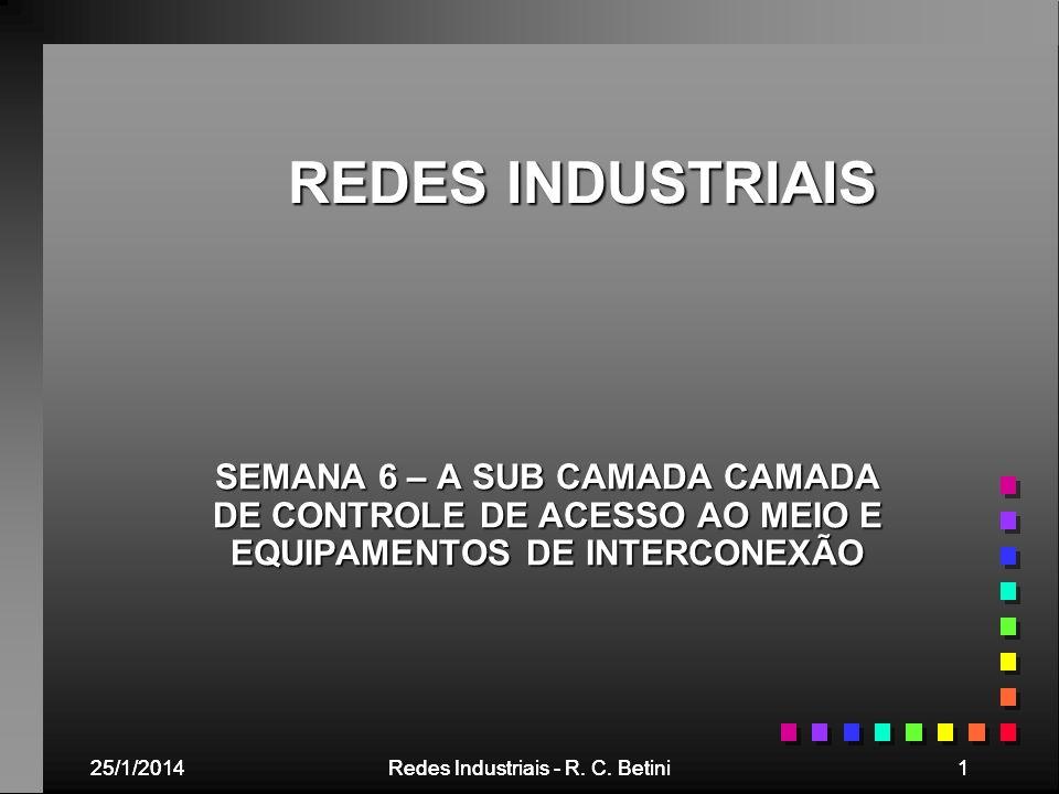 25/1/2014Redes Industriais - R. C. Betini125/1/2014Redes Industriais - R. C. Betini1 REDES INDUSTRIAIS SEMANA 6 – A SUB CAMADA CAMADA DE CONTROLE DE A