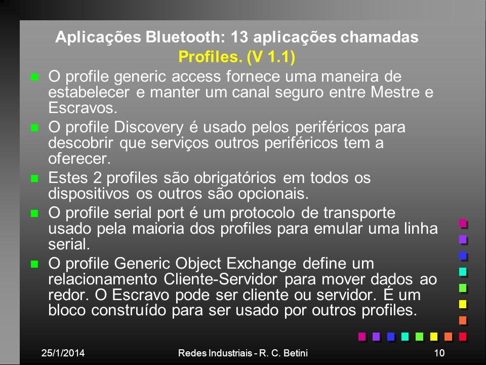 25/1/2014Redes Industriais - R. C. Betini10 Aplicações Bluetooth: 13 aplicações chamadas Profiles. (V 1.1) n n O profile generic access fornece uma ma