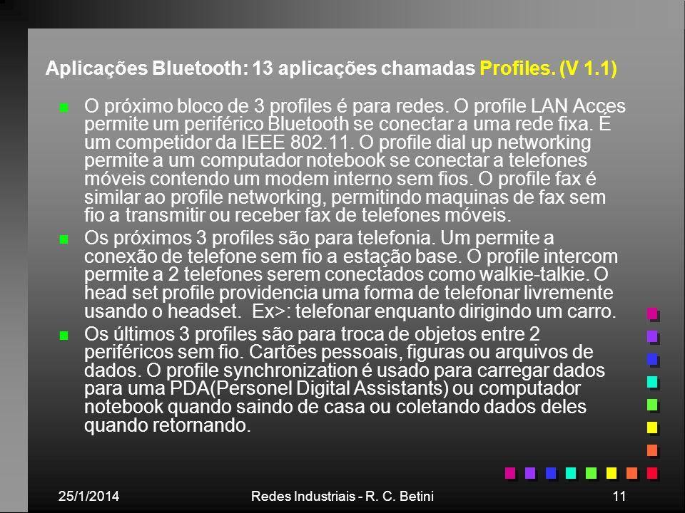 25/1/2014Redes Industriais - R. C. Betini11 Aplicações Bluetooth: 13 aplicações chamadas Profiles. (V 1.1) n n O próximo bloco de 3 profiles é para re