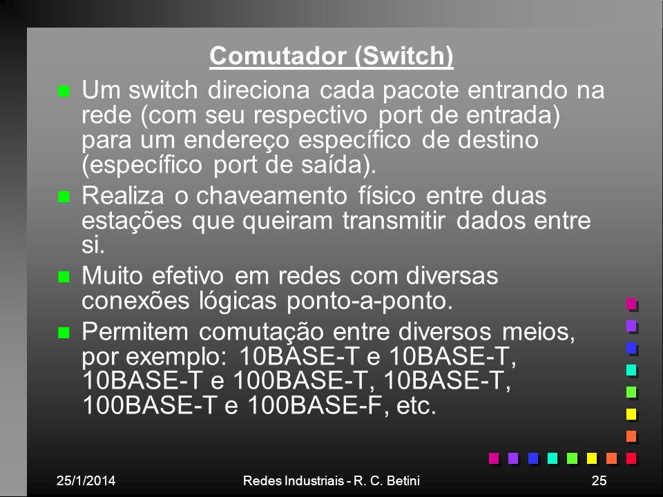 25/1/2014Redes Industriais - R. C. Betini25 Comutador (Switch) n n Um switch direciona cada pacote entrando na rede (com seu respectivo port de entrad