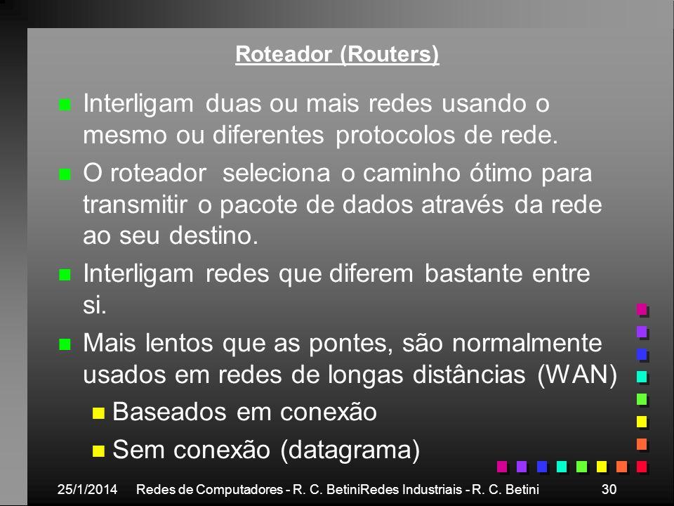 25/1/2014Redes de Computadores - R. C. BetiniRedes Industriais - R. C. Betini30 Roteador (Routers) n n Interligam duas ou mais redes usando o mesmo ou