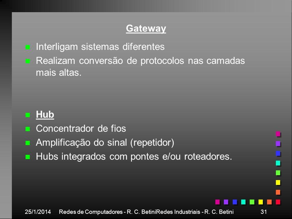 25/1/2014Redes de Computadores - R. C. BetiniRedes Industriais - R. C. Betini31 Gateway n n Interligam sistemas diferentes n n Realizam conversão de p