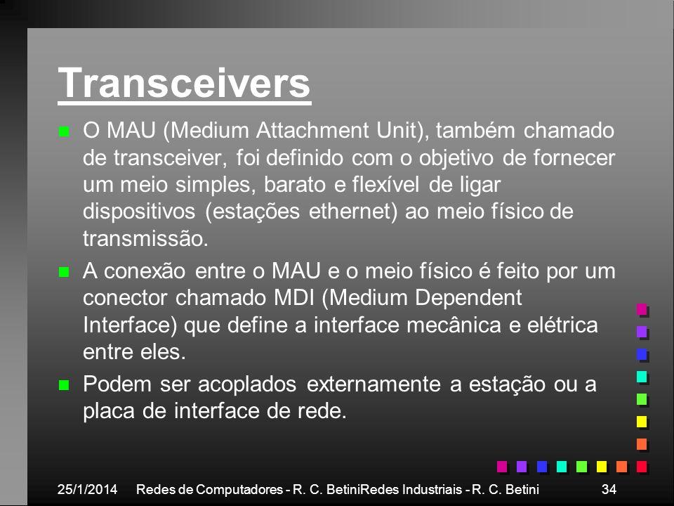 25/1/2014Redes de Computadores - R. C. BetiniRedes Industriais - R. C. Betini34 Transceivers n n O MAU (Medium Attachment Unit), também chamado de tra
