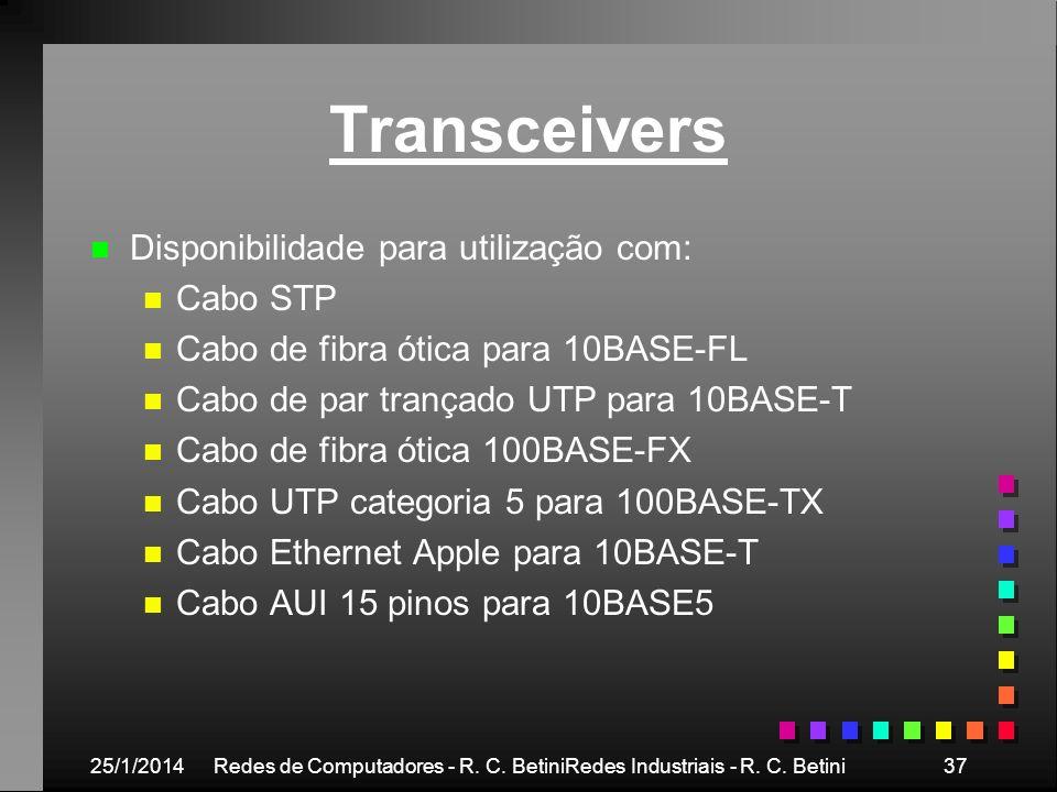 25/1/2014Redes de Computadores - R. C. BetiniRedes Industriais - R. C. Betini37 Transceivers n n Disponibilidade para utilização com: n n Cabo STP n n