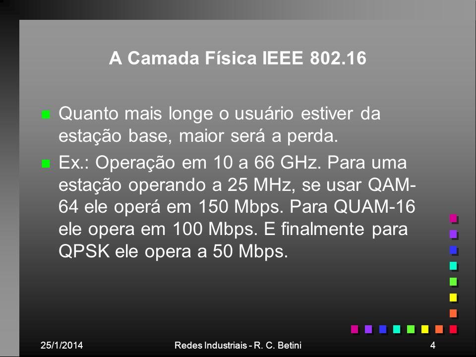 25/1/2014Redes Industriais - R. C. Betini4 A Camada Física IEEE 802.16 n n Quanto mais longe o usuário estiver da estação base, maior será a perda. n