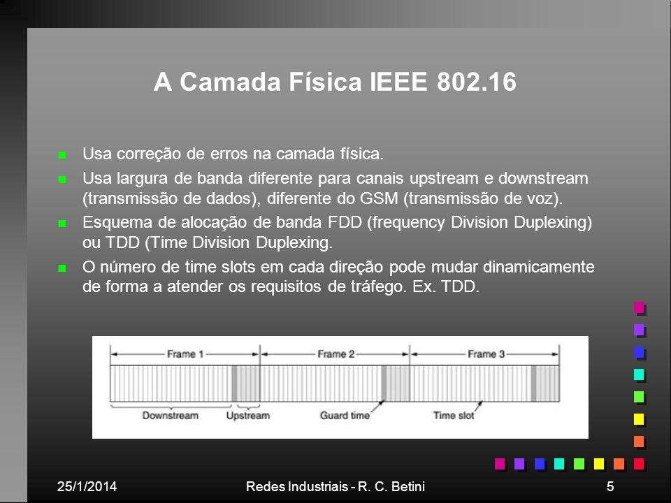 25/1/2014Redes Industriais - R. C. Betini5 A Camada Física IEEE 802.16 n n Usa correção de erros na camada física. n n Usa largura de banda diferente