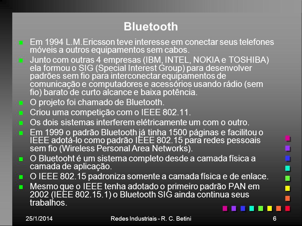 25/1/2014Redes Industriais - R. C. Betini6 Bluetooth n n Em 1994 L.M.Ericsson teve interesse em conectar seus telefones móveis a outros equipamentos s
