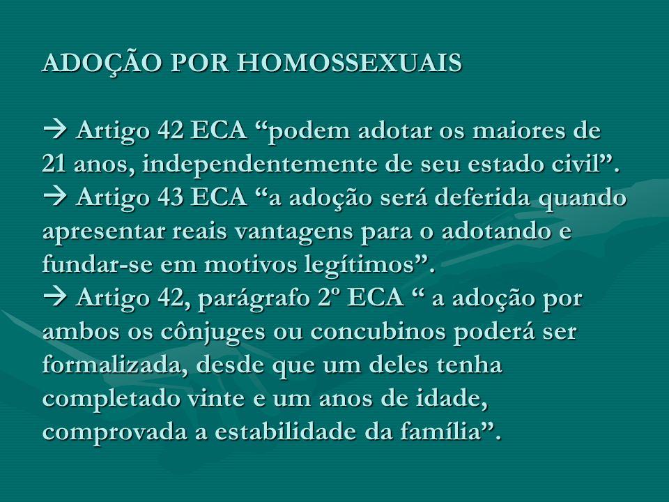 ADOÇÃO POR HOMOSSEXUAIS Artigo 42 ECA podem adotar os maiores de 21 anos, independentemente de seu estado civil. Artigo 43 ECA a adoção será deferida