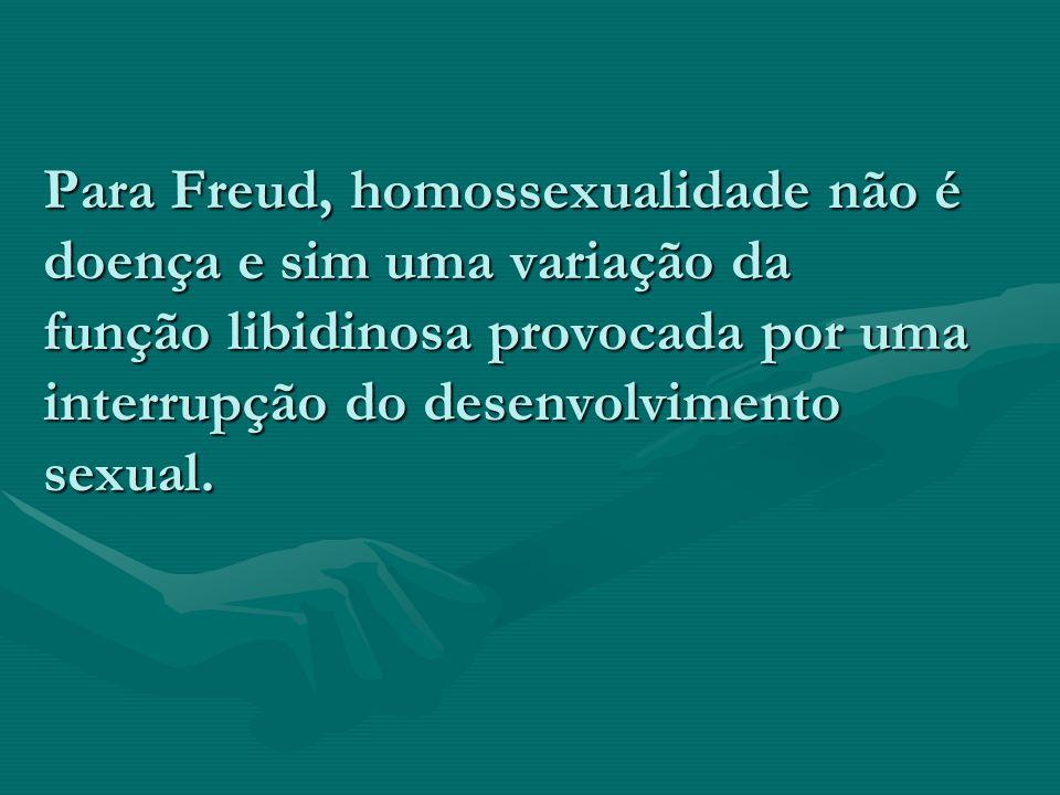 Para Freud, homossexualidade não é doença e sim uma variação da função libidinosa provocada por uma interrupção do desenvolvimento sexual.
