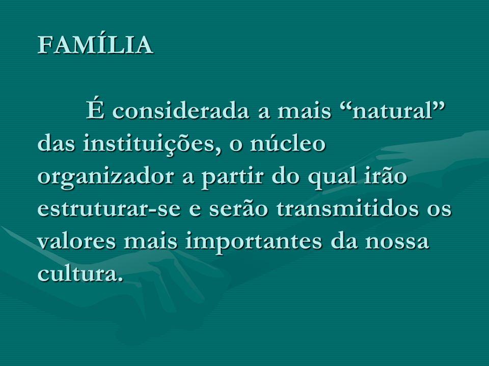 FAMÍLIA É considerada a mais natural das instituições, o núcleo organizador a partir do qual irão estruturar-se e serão transmitidos os valores mais i