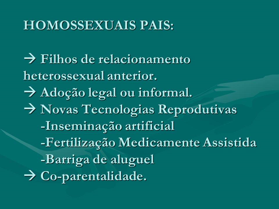 HOMOSSEXUAIS PAIS: Filhos de relacionamento heterossexual anterior. Adoção legal ou informal. Novas Tecnologias Reprodutivas -Inseminação artificial -