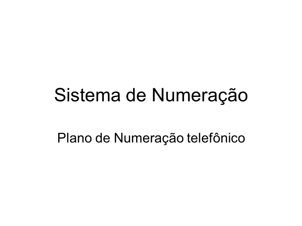 Sistema de Numeração Plano de Numeração telefônico