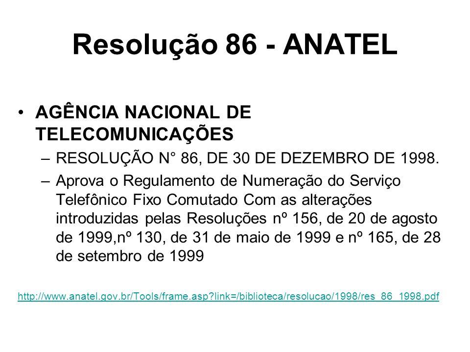 Resolução 86 - ANATEL AGÊNCIA NACIONAL DE TELECOMUNICAÇÕES –RESOLUÇÃO N° 86, DE 30 DE DEZEMBRO DE 1998. –Aprova o Regulamento de Numeração do Serviço