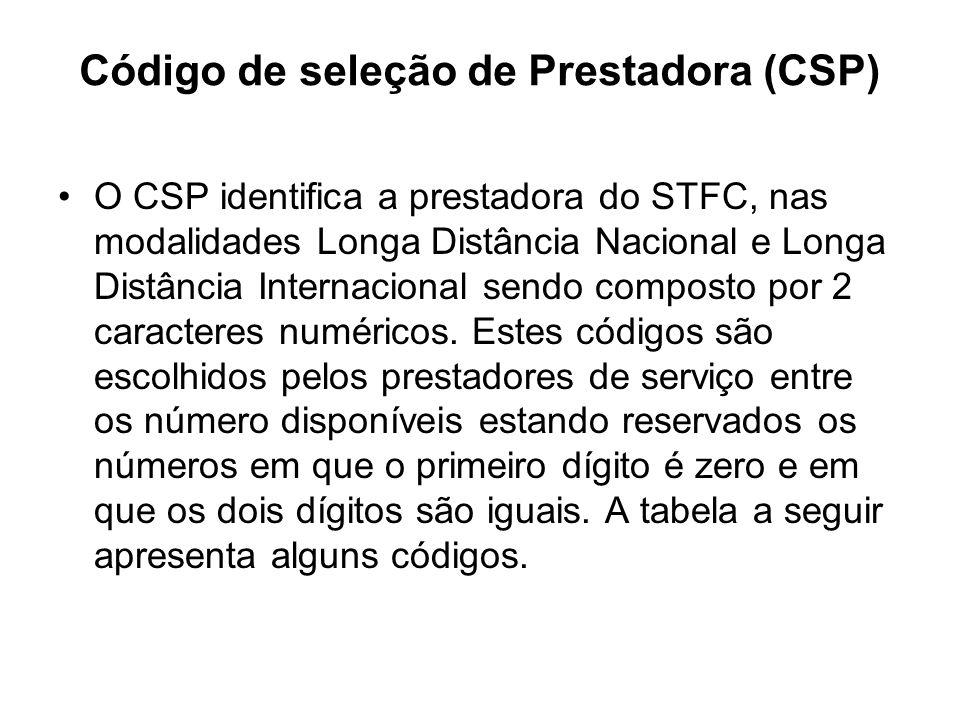 Código de seleção de Prestadora (CSP) O CSP identifica a prestadora do STFC, nas modalidades Longa Distância Nacional e Longa Distância Internacional