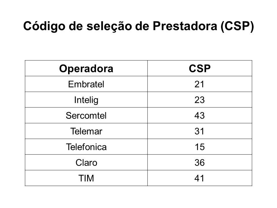 Código de seleção de Prestadora (CSP) OperadoraCSP Embratel21 Intelig23 Sercomtel43 Telemar31 Telefonica15 Claro36 TIM41