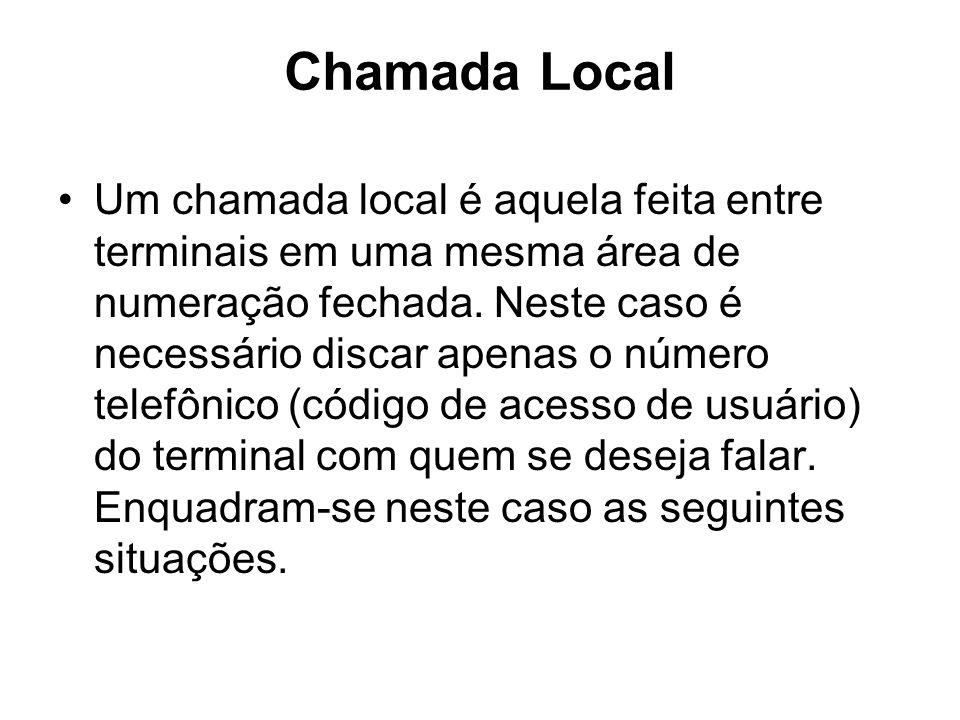 Chamada Local Um chamada local é aquela feita entre terminais em uma mesma área de numeração fechada. Neste caso é necessário discar apenas o número t