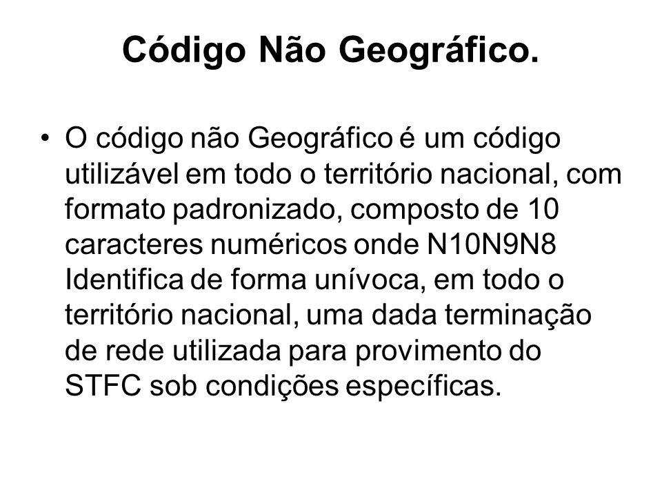 Código Não Geográfico. O código não Geográfico é um código utilizável em todo o território nacional, com formato padronizado, composto de 10 caractere